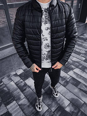 Куртка мужская черная кожаная стеганая на флисе кожанка демисезонная теплая
