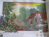 Готовая картина со стразами 5D Летний дом 58*39 см Код 198257