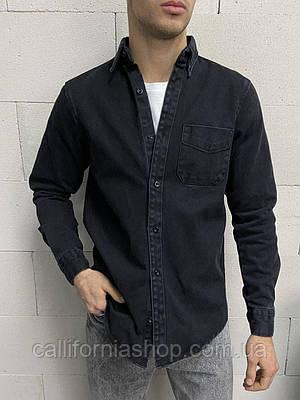 Рубашка мужская черная джинсовая с длинным рукавом