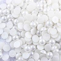 Полубусины белые перламутровые, 6 мм