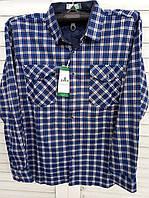 Рубашка синяя в клетку на флисе батал