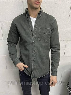 Рубашка мужская джинсовая с длинным рукавом
