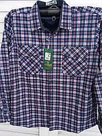 Рубашка в клетку на флисе с накладными карманами
