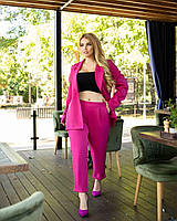 Женский стильный костюм-двойка брюки на резинке и пиджак на пуговице, фото 1