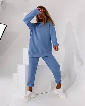 Жіночий трендовий костюм з капюшоном з трехнити в кольорах (Норма)