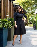 Стильне жіноче плаття до коліна, попереду на гудзиках, на талії поясок, сорочковий комір батал, фото 1