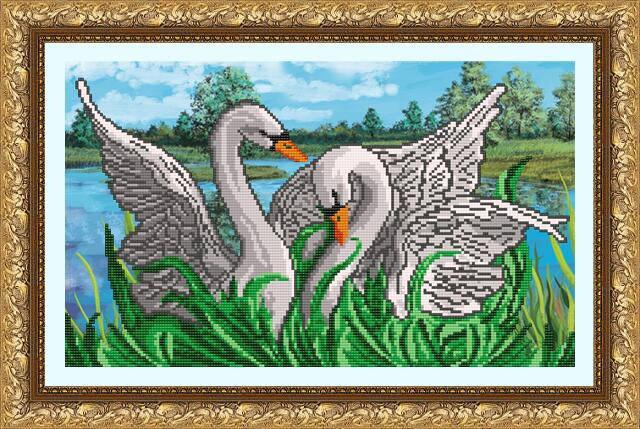"""Рисунок на ткани для вышивания бисером """"Лебединая Верность"""", фото 2"""
