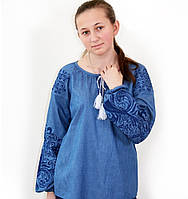 Красива жіноча вишиванка з джинса, фото 1