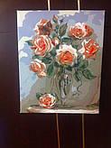 """Нарисованная картина по номерам Babylon """"Коралловые розы"""" Код: VP326"""