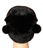 """Норковая женская шапка """" киска """" цвет черный"""