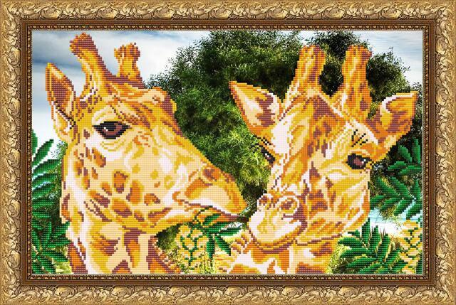 """Рисунок на ткани для вышивания бисером """"Жирафы"""", фото 2"""