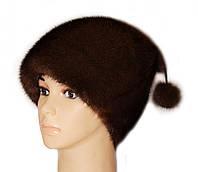 """Норковая женская шапка """"киска """" цвет орех"""