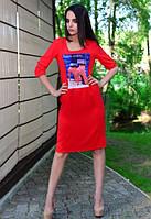 Платье женское красное,платье женское с рисунком,летнее платье женское