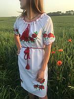 """Красивое белое женское платье вышиванка с коротким рукавом """" Маки """" , размер 46-56, фото 1"""