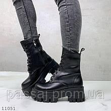 Зимові черевики на платформі з натуральної шкіри