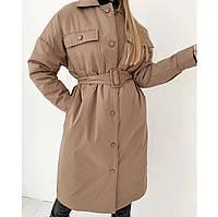 Куртка женская длинная бежевая