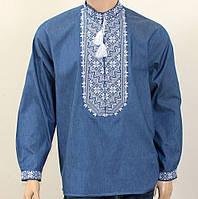 Очень красивая мужская вышиванка на джинсовой ткани, фото 1