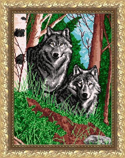 """Рисунок на ткани для вышивания бисером """"Волки в лесу"""""""