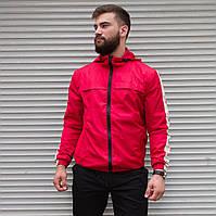 Мужская легкая ветровка красная с капюшоном, мужские демисезонные куртки и ветровки на молнии весна осень