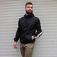 Мужская легкая ветровка черная с капюшоном, мужские демисезонные куртки и ветровки на молнии весна осень