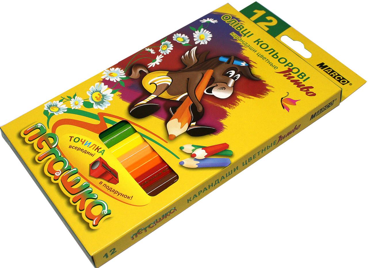 Карандаши цветные Пегашка Jumbo (12 цветов) для рисования