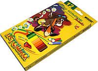 Карандаши цветные Пегашка Jumbo (12 цветов) для рисования, фото 1