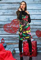 Платье женское теплое,платье хаки женское