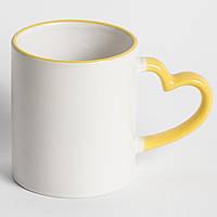 Чашка 330 мл LOVE (цветной ободок и ручка)