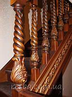 Резная лестница из дуба