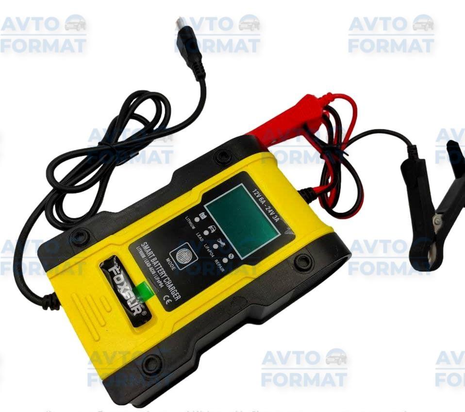 Импульсное автоматическое автомобильное зарядное устройство Foxsur 12V/6A 24V/3A