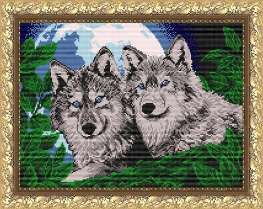 """Рисунок на ткани для вышивания бисером """"Волки лунной ночью"""", фото 2"""