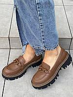 Туфлі шкіряні коричневі на чорній тракторній підошві, фото 1