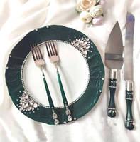 Набір для весільного торта ізумрудного кольору