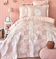 Подростковое постельное белье с покрывалом Karaca Home. Ранфорс Fizzy pudra-1,5-спальный подростковый