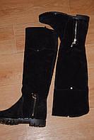 Ботфорты черные зимние из натуральной замши и меха код 866