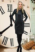 Платье черное женское,платье с стеганой эко-кожи женское теплое,