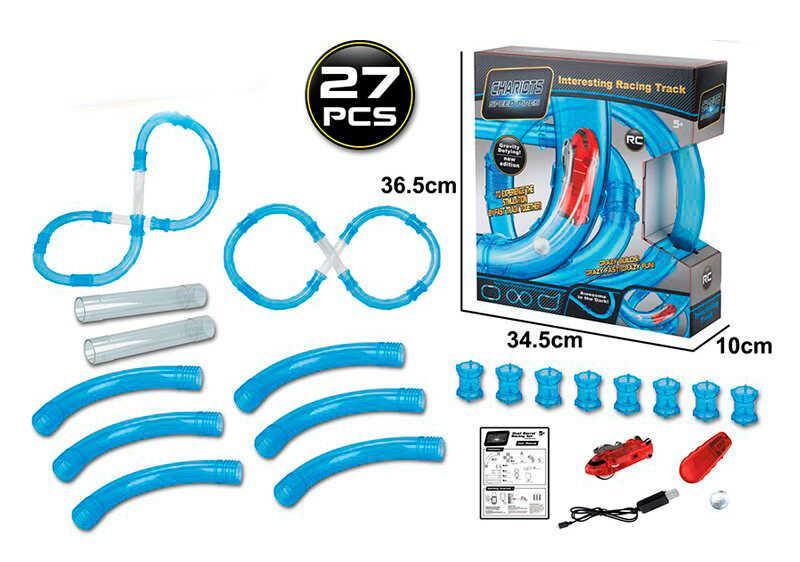 Автотрек трубопроводный 022-5 (16) на р/у, 1 машинка, 27 элементов, в коробке