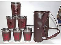 Дорожный набор стопок с гербом Украины. 6 шт по 200 мл в кожаной сумке алST3-51