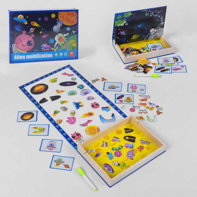 Деревянная Логическая игра B 33486 (32) магнитная, карточки, пазл, в коробке