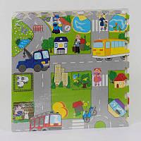 Коврик-пазл EVA С 36568 Город (12) 4 шт в упаковке, 60х60 см
