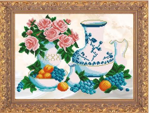 """Рисунок на ткани для вышивания бисером """"Завтрак с виноградом"""""""