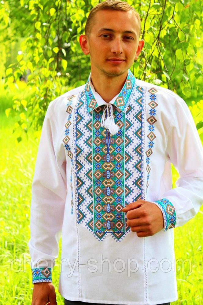 Мужская вышиванка из 100 % Льна , Гарна чоловіча рубашка - вишиванка з льону