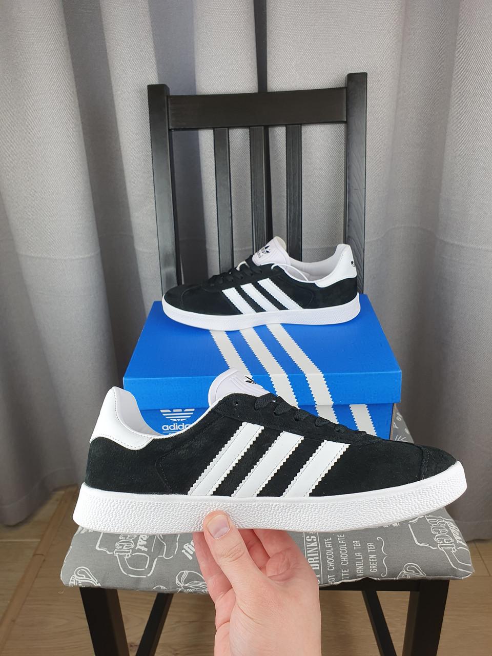 Кеды унисекс Adidas Gazelle черные с белым Женские и мужские кроссовки Адидас Газель черно-белые замшевые 2021