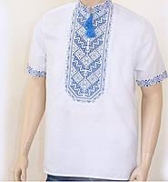 Мужская вышиванка с коротким рукавом с синей вышивкой