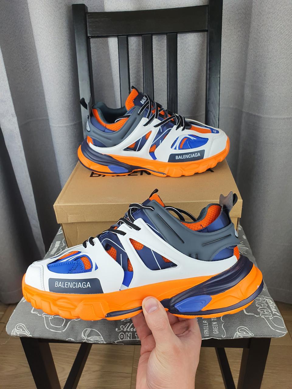 Кроссовки мужские Balenciaga Track Orange Blue оранжевые с синим и белым. Беговые кроссы Баленсиага Трек 2021