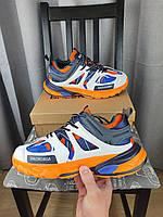 Кроссовки мужские Balenciaga Track Orange Blue оранжевые с синим и белым. Беговые кроссы Баленсиага Трек 2021, фото 1