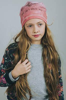 """Весенняя шапочка для девочки """"Даймонд"""" серебристо-розовый."""