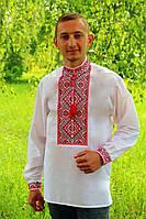 Очень красивая мужская вышиванка с красным орнаментом