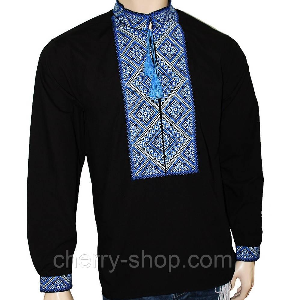 Чоловіча чорна вишиванка з синім орнаментом