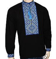 Мужская черная вышиванка с синим орнаментом